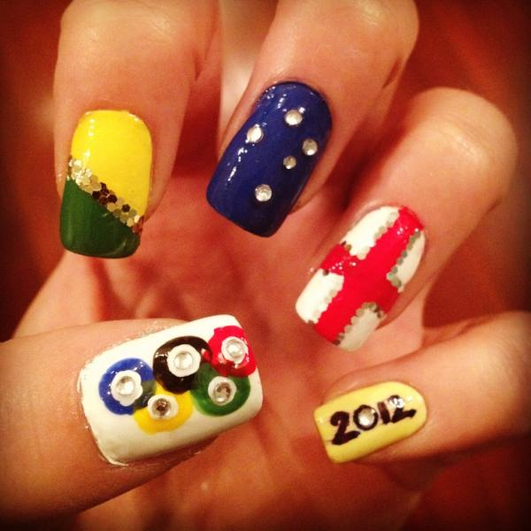 nail arts . Here are just some of the Olympic-inspired nails for your